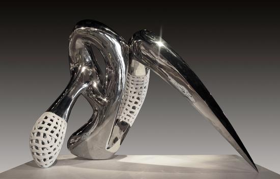 安然《冰异-1》120x90x65cm 陶,不锈钢 1260-氧化