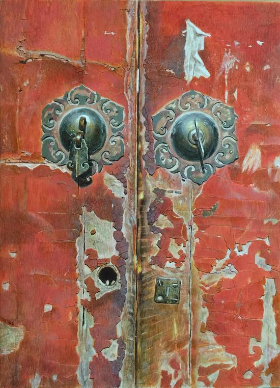 《老门系列6》 板上油画 40cm×55cm