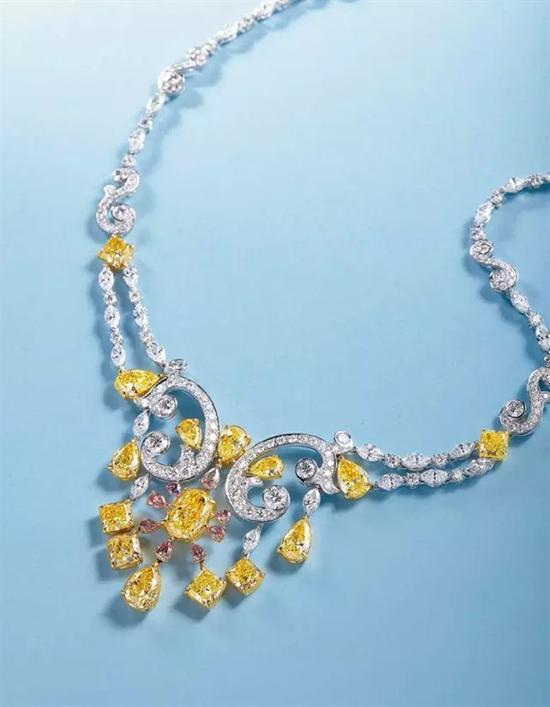 浓彩黄色钻石、彩粉色钻石配钻石项链(黄钻均为浓彩Fancy Intense Yellow、均有GIA证书) FANCY INTENSE YELLOW DIAMOND AND FANCY PINK DIAMOND NECKLACE