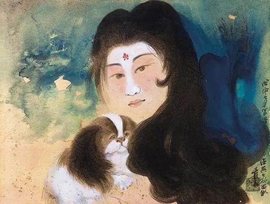 张大千 佳人番犬图设色金笺 镜片45×60cm (约2.4平尺)
