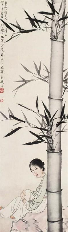 徐悲鸿 少陵诗意1944年作镜框 设色纸本 100.5×30cm