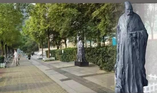 《夏衍》雕像,高2.2m,基座0.35m,安放位置:大行宫广场