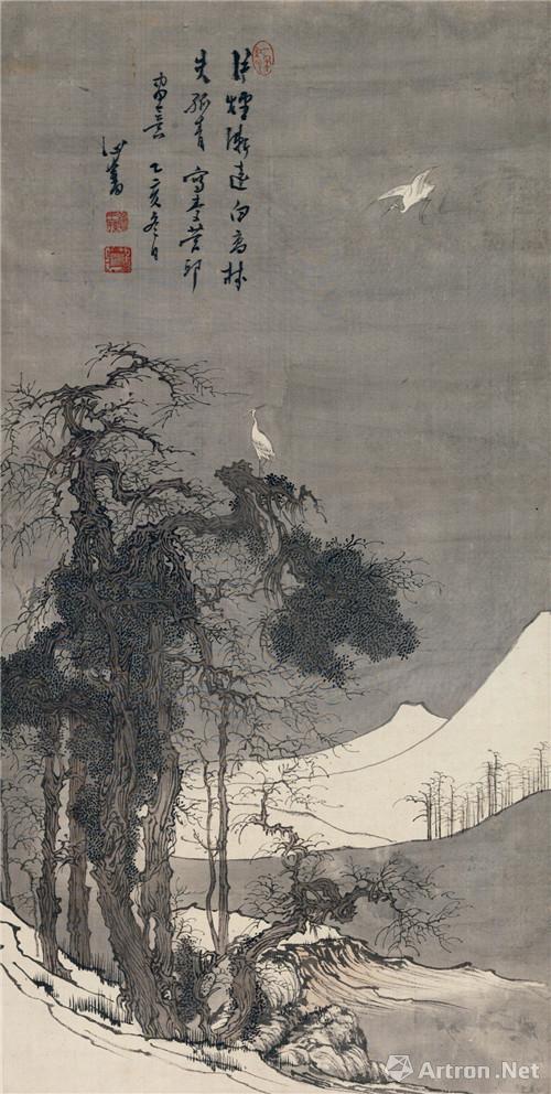 附图8、溥心畬乙亥(1935年)作 寒林白鹭 立轴 设色绢本尺幅73×37厘米(2016年11月嘉德299万元成交)
