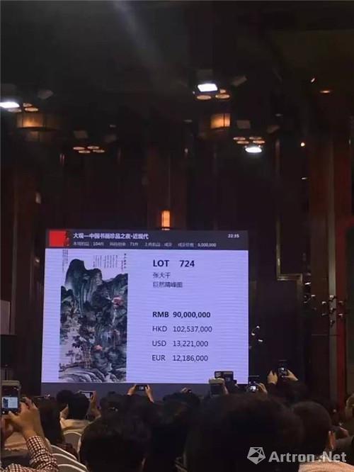 """附图1、中国嘉德""""大观""""拍卖张大千 1946年作《仿巨然晴峰图 》立轴场景"""