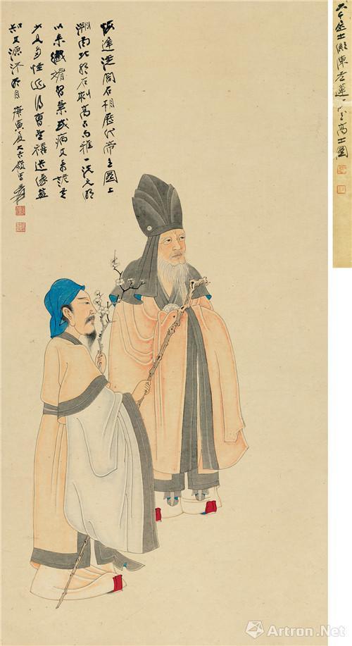 附图4、张大千庚寅(1950年)作 梅花高士 立轴(2016年11月嘉德1150万元成交)
