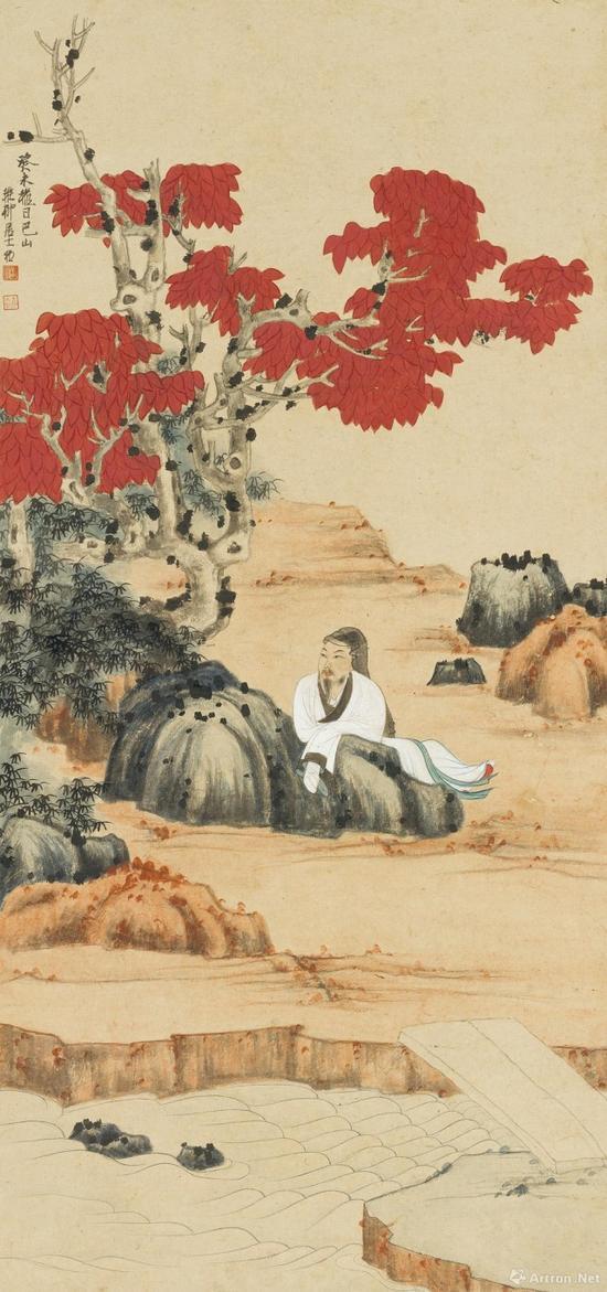 附图9、谢稚柳癸未(1943年)作 水湄静观图 立轴(2016年11月嘉德345万元成交)