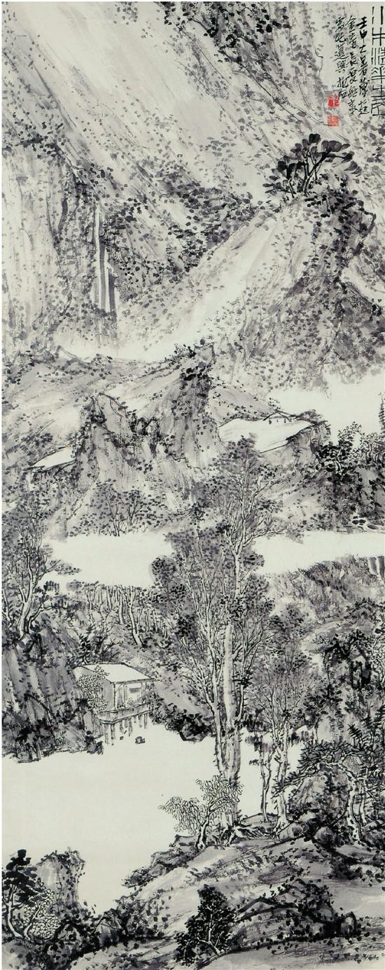 傅抱石 水木清华之居图 轴 纸本 水墨 1932年