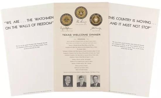 肯尼迪总统受邀参加德克萨斯欢迎晚宴邀请函及流程单原件