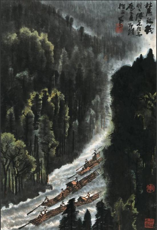 李可染《林区放筏》,成交价:1610万元,图片来源:中国嘉德