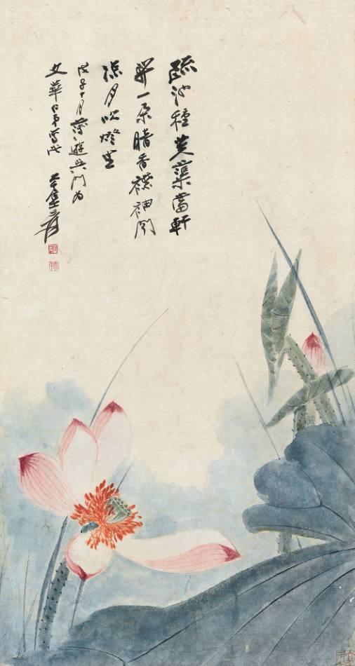 张大千《荷花》,成交价:184万元,图片来源:中国嘉德