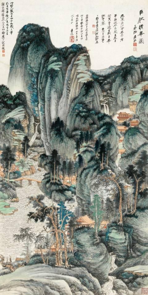 张大千《巨然晴峰图》,成交价:1.035亿元,图片来源:中国嘉德