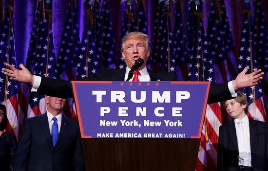 11月9日早晨,共和党总统候选人在纽约市中心希尔顿酒店发表胜出演讲。图片:Chip Somodevilla Getty Images.