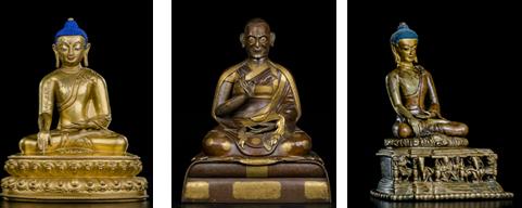 1:15世纪 銅鎏金释迦牟尼佛 H22cm 2:17世纪 铜鎏金贾曹杰•达玛仁钦坐像 京造 H58cm  3:12世纪 双色铜释迦牟尼像 帕拉王朝 H13cm