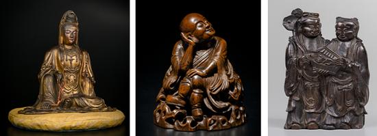 1:明代 金漆木胎自在观音 H35cm 2:清早期 竹雕思维罗汉 H14cm 3:清代 沉香雕和合二仙 H13cm