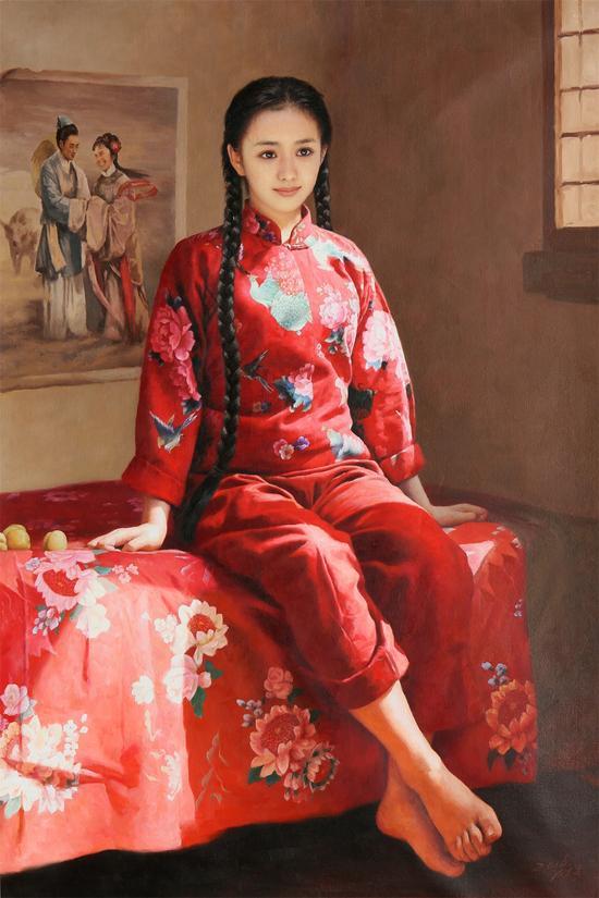 七夕的传说 2016年作 李成旭 功勋艺术家 布面油画150×100cm 起拍价 RMB:20,000