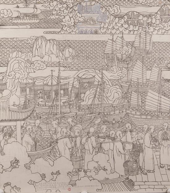 出国朝圣稿-贺友直-北京画院藏