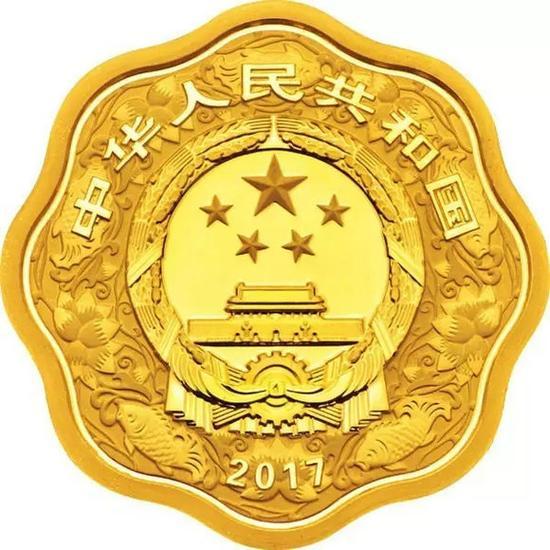 15克梅花形精制金质纪念币正面图案