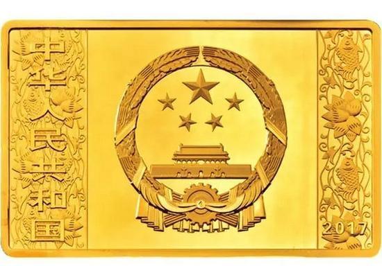 150克长方形精制金质纪念币正面图案