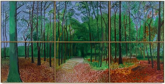 大卫·霍克尼,《Woldgate Woods, 24, 25, and 26 October 2006》,2006。图片:Courtesy Sotheby's.
