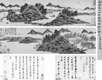 吴镇《山窗听雨图》纸本手卷1338年28×203cm题跋28×45cm×2