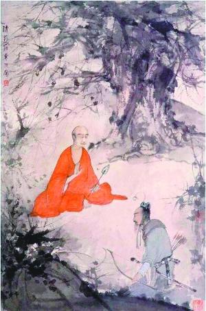 傅抱石《仿桥本关雪 石勒问道图》,92.2cm×61.1cm 纸本设色,约1945年作,南京博物馆藏