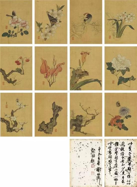 清 陈洪绶  十二帧绢本《花卉草虫册》  匡时拍卖 供图