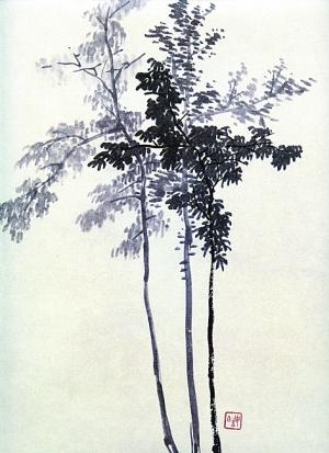 山水画课徒稿:树法示范(左);古人画谱:画松法