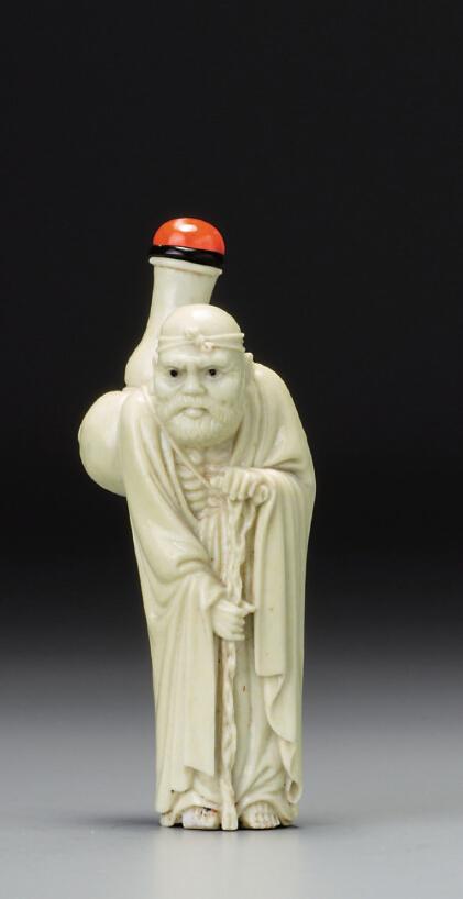 ◎清十九世纪  米黄釉壶公鼻烟壶