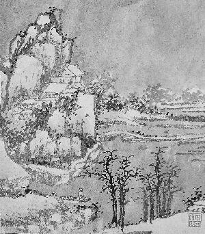 吴门十二景 册页 沈周 创作年份不详 纸本水墨 25.8cm×22.5cm 在沈周的画迹当中,《吴门十二景》册是一件独特而精美的山水小册页。该画册共12页,分别描绘了江苏吴县的12处景致,每开画上还有沈周的自书诗对题,整本画册还保存着原来的明代装裱。