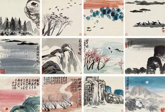 《山水册》  设色纸本  册页(十二开) 31.5 × 35 cm
