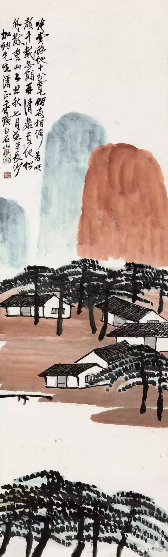 《松山闲居》 设色纸本 立轴  148.6 × 46 cm