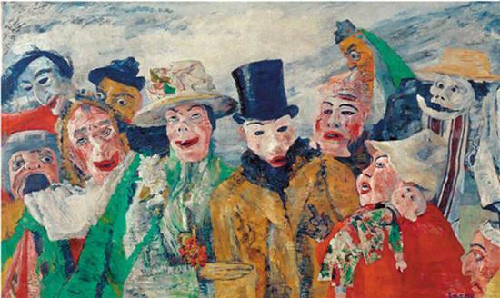詹姆斯·恩索尔 诡计 帆布油画 1890年