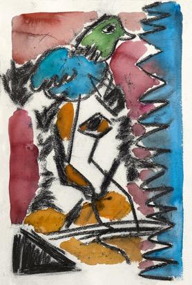 《小鸟》38×57cm水彩。碳粉笔 2016年