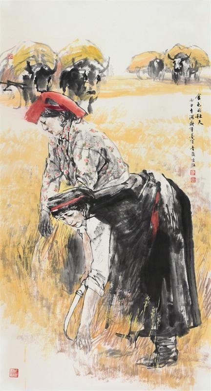 杜滋龄 《金色的秋天》 180×97c 中国画 2016