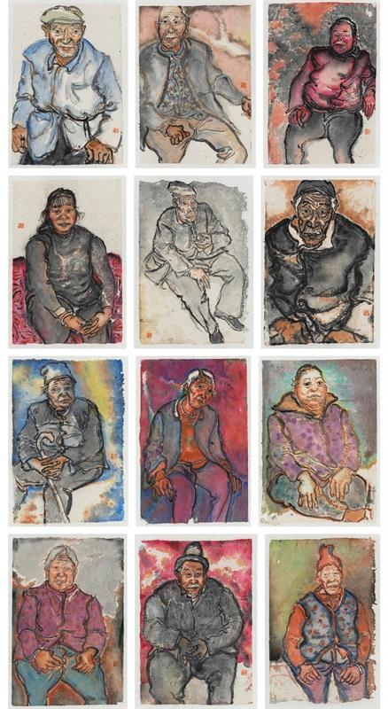 王晓辉 《微水墨·善加沟的老人》 19.5×9.5cm×12 中国画 2016年