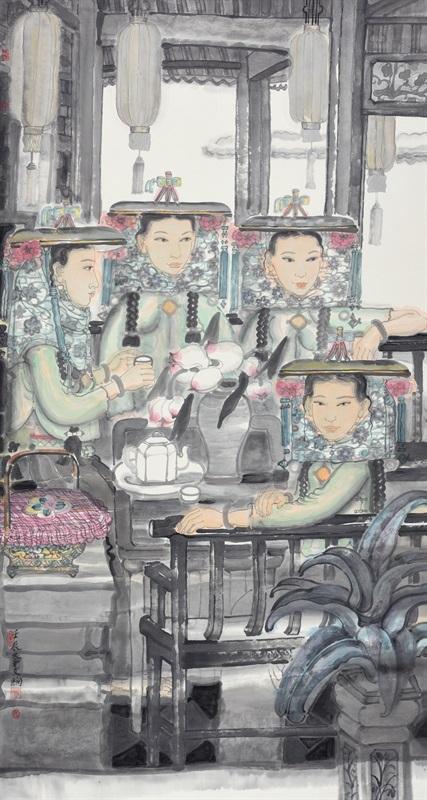 李文绚 《夏荷花》 180×97c 中国画 2012