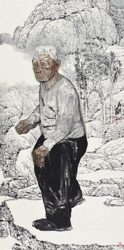袁武 《大山水系列》 180×97c 中国画 2006