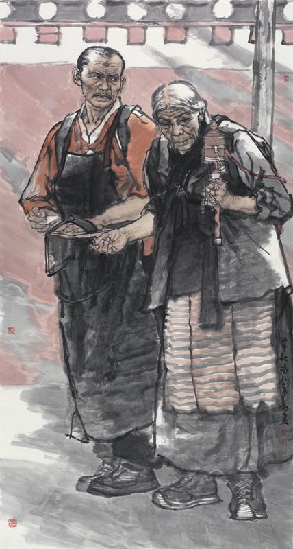 刘泉义 《在路上》 180×97c 中国画 2016