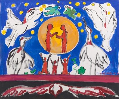 《祈舞》151×125cm 布面丙烯 2016年。lnk