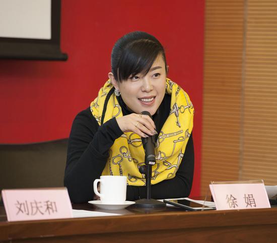 中国工笔基金代表、美博文化(北京)有限公司执行董事徐娟 在发布会现场