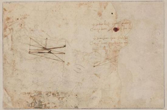 作品背面有两处更小的科学草图,还有从右到左写的笔记,达芬奇以从右到左的书写习惯著称。(BBC)