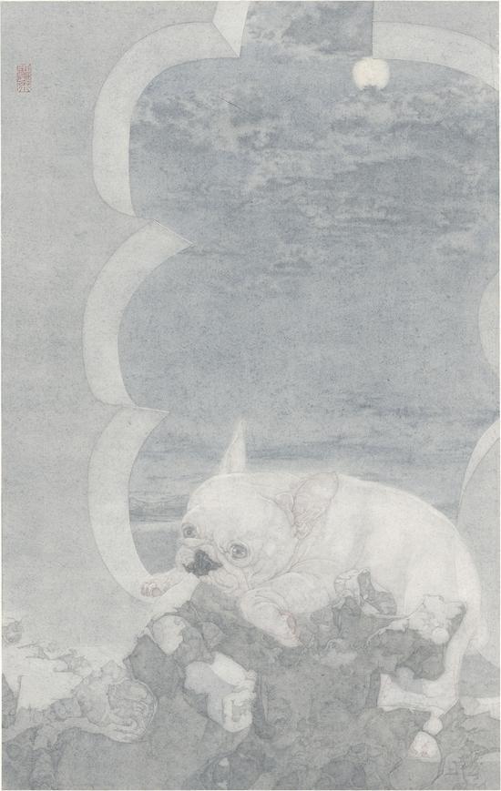 《世界线-·-夤夜》81.5×51.5厘米 纸本 郑庆余2015年