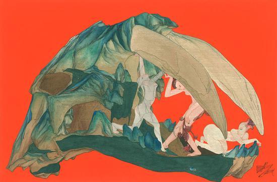 《万物——合符釜山》系列之20 45×68cm 绢本重彩 黄欢 2016年