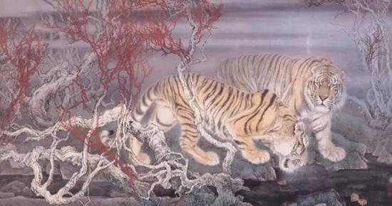 30年前,在全国擅长工笔虎的画家不过三五人,但在冯大中先生的《早春图》在首届工笔画大展中拔得头筹以后,全国画虎的人已经如过江之卿,何止万千!图为:早春 120×240厘米 纸本设色 冯大中 1988年
