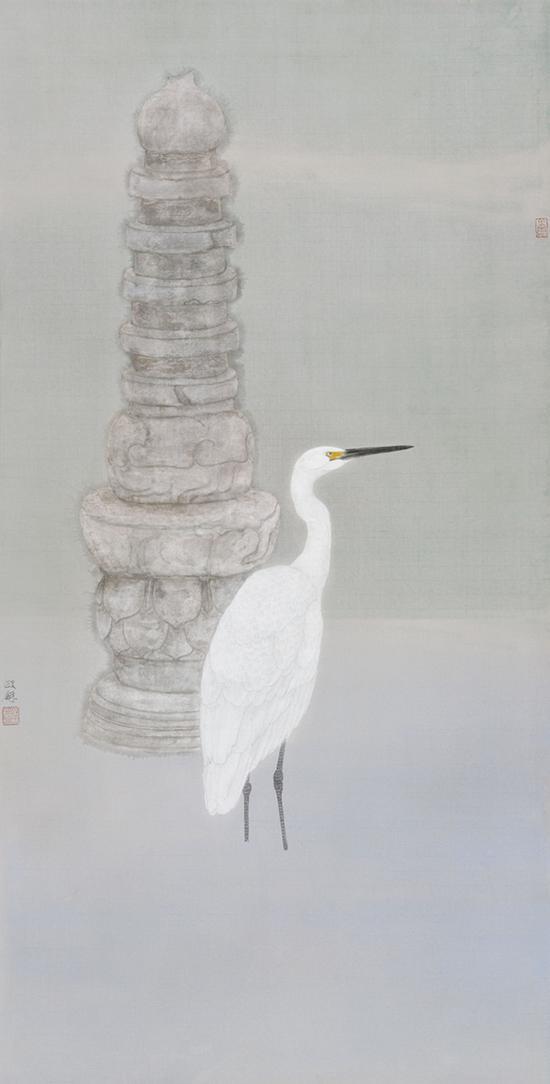 《白鹭依经幢》之一 138×68厘米 纸本设色 方政和 2015年