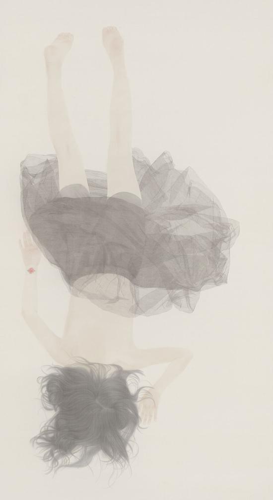 《若轻》系列之三 240×130厘米 绢本 水色 徐华翎 2015年