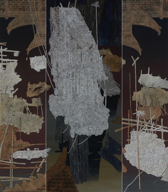 漕运千年梦我家 230×190厘米 纸本 栾剑 2014年