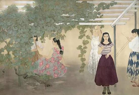 何家英先生的《酸葡萄》在首届工笔画大展中获得金叉奖,该件作品至今仍为人物画领域的后来者所顶礼膜  拜。图为:酸葡萄 175×245 厘米 绢本设色 何家英 1988年