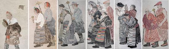 《祈福路》组画 麻纸 综合材料 180×100cm×6 安佳 2014年