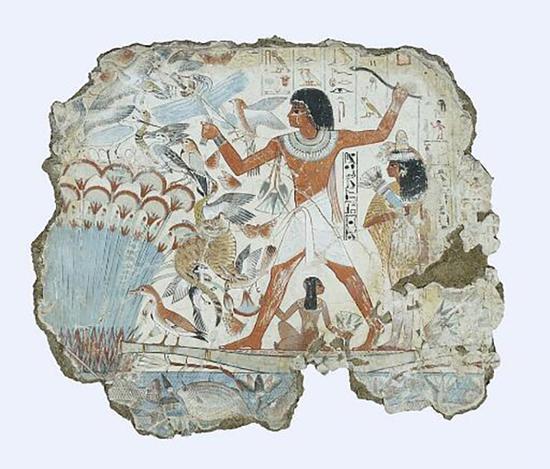古埃及坟墓中的壁画 c.1350 BC,收藏于大英博物馆